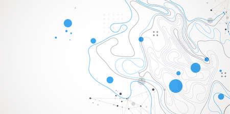 Vector abstract landscape geodesy topography map background. Art Line texture pattern. Ilustración de vector