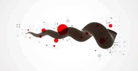 Modern science or technology art background. Vector wireframe tentacle.
