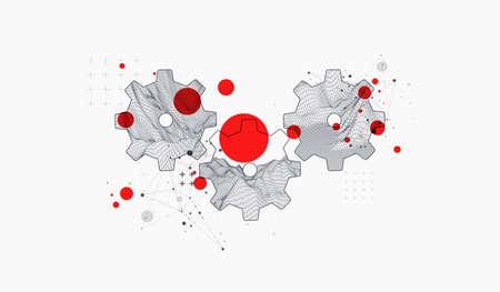 Modern science or technology abstract background using hexagonal cogwheel. Wireframe spot surface illustration. Vector.