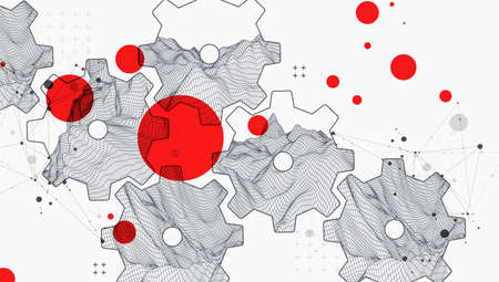 Modern science or technology abstract background using  cogwheel. Wireframe spot surface illustration. Vector.