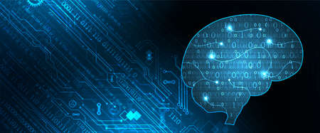 Abstract background on the theme of artificial intelligence. Head /brain shape with technological elements inside the contour.