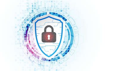 Technological abstract background on the topic of information protection and computer security. Shield with the image of a padlock in the middle. Vector Illustration