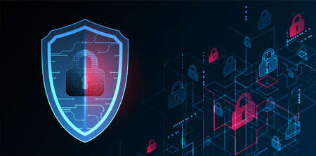 Technological abstract background on the topic of information protection and computer security. Shield with the image of a padlock in the middle.