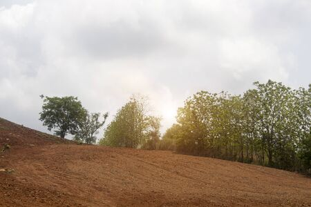 The high hills that have been plowed for farming and the forest remains from the invasion