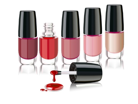 colors nail lacquer bottles with an open cap photo