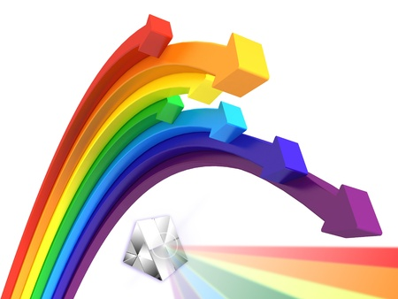 3d rainbow arrows with a prism Stock Photo - 18412483