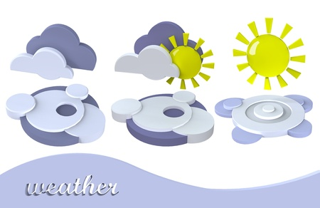 3d weather symbol sun, cloud photo