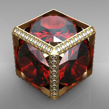 3d jewel cube with gem photo