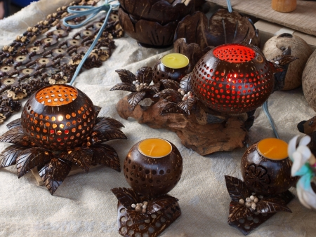Coconut shell lamp photo