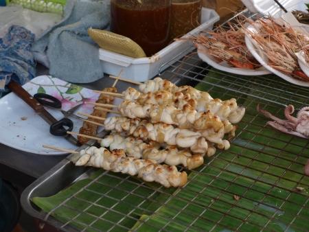skewers squid photo