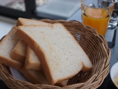 Slice of bread in a basket photo