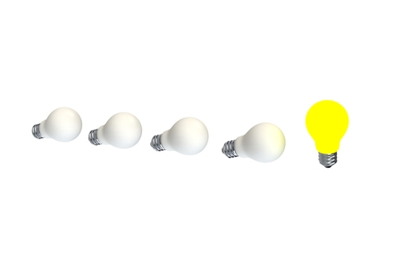 metal filament: Glowing light bulb isolated on white Stock Photo