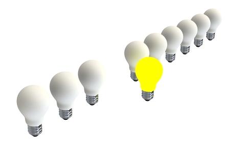 leading light: Leadership concept with illuminated light bulb leading among white