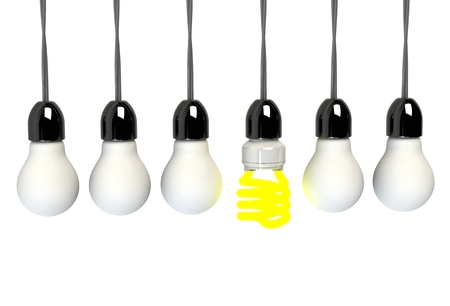 illuminated: Inspiration concept illuminated light bulb metaphor for good idea
