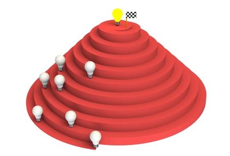 leading: Leadership concept with illuminated light bulb leading among white