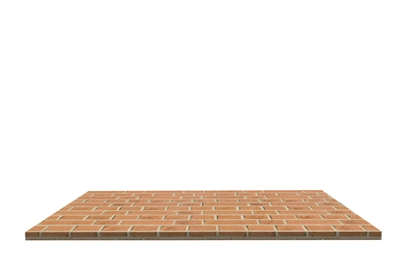 fire brick: Empty top of stone fire brick table or counter isolated on white background. For product display