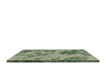 geen: Empty top of stone geen marble table or counter isolated on white background. For product display
