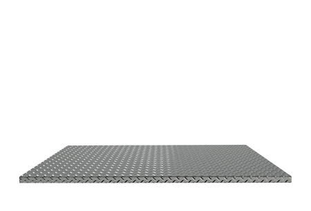 treadplate: Empty top of aluminum treadplate table or counter isolated on white background. For product display