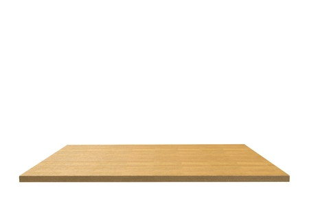 white wood floor: Empty top of wood laminate floor table or counter isolated on white background. For product display Stock Photo