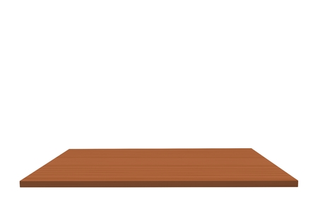 Empty top of wood unfinished american beech table or counter isolated on white background.