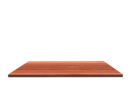 rosewood: Empty top of polished rosewood table or counter isolated on white background.