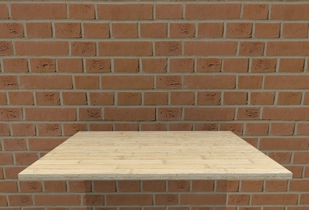fire brick: Empty top wood laminate floor shelves and fire brick wall background.