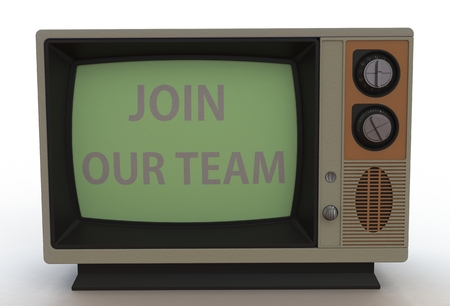 our: JOIN OUR TEAM, message on vintage TV Stock Photo