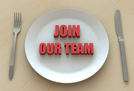 our: JOIN OUR TEAM, message on dish