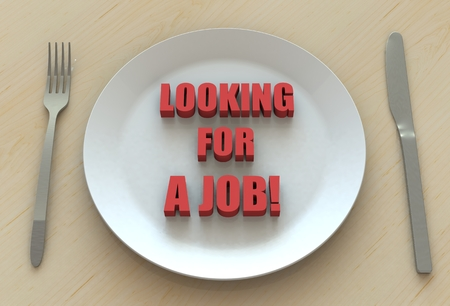 looking for a job: Looking for a job!, message on dish Stock Photo