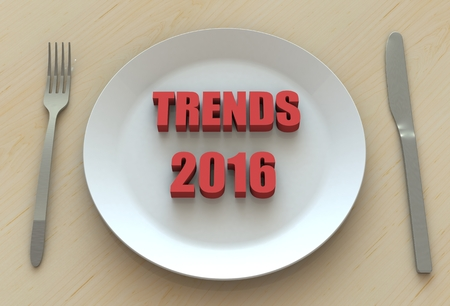tendency: TRENDS 2016, message on dish Stock Photo