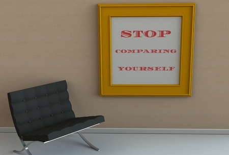 morale: STOP COMPARING YOURSELF, message on picture frame, chair in an empty room