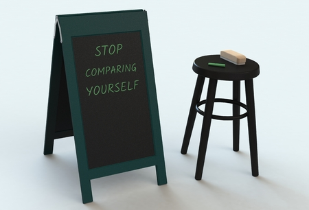 comparing: STOP COMPARING YOURSELF, message on blackboard, 3D rendering Stock Photo