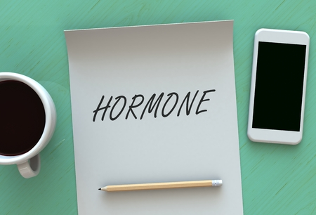 hormonal: Hormone, message on paper, smart phone and coffee on table, 3D rendering