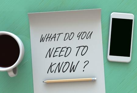 Che cosa è necessario sapere, messaggio su carta, smartphone e caffè sul tavolo, rendering 3D Archivio Fotografico
