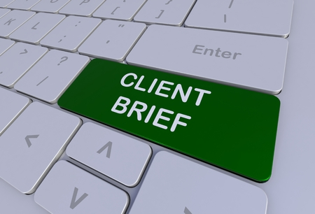 brief: CLIENT BRIEF, message on keyboard, 3D rendering Stock Photo