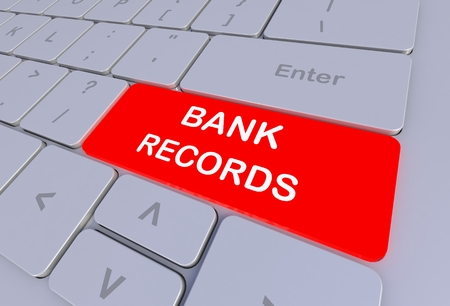 bank records: BANK RECORDS, message on keyboard, 3D rendering Stock Photo