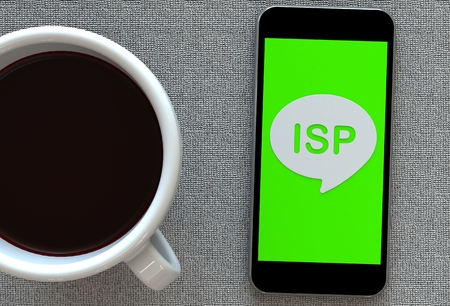 service providers: ISP, message on speech bubble with smart phone and and coffee, 3D rendering Stock Photo