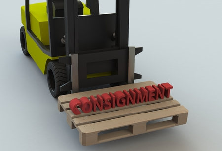 consignment: Consignment, message on wooden pillet with forklift truck, 3D rendering Stock Photo