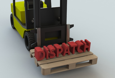 dispatch: Dispatch, message on wooden pillet with forklift truck, 3D rendering Stock Photo