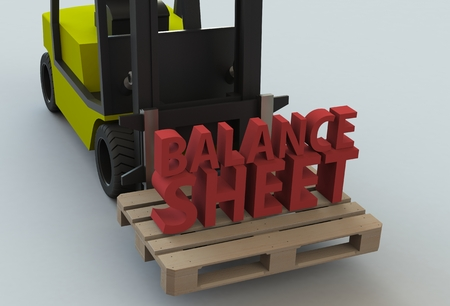 stockholder: BALANCE SHEET, message on wooden pillet with forklift truck, 3D rendering Stock Photo