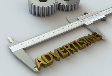 vernier caliper: ADVERTISING, message on vernier caliper Stock Photo