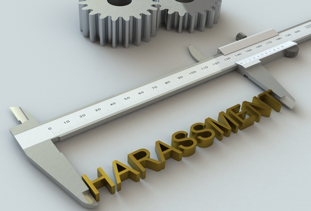 harassment: HARASSMENT, message on vernier caliper Stock Photo