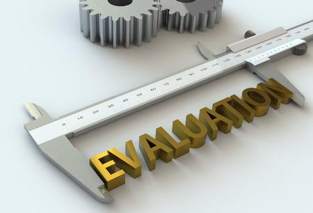 vernier caliper: EVALUATION, message on vernier caliper, 3D rendering