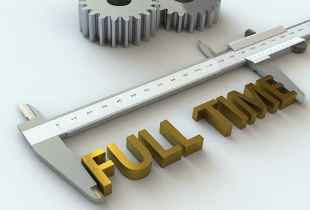 vernier caliper: FULL TIME, message on vernier caliper, 3D rendering