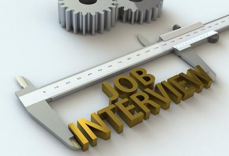 vernier caliper: JOB INTERVIEW, message on vernier caliper, 3D rendering