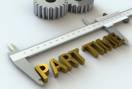 vernier caliper: PART TIME, message on vernier caliper, 3D rendering Stock Photo
