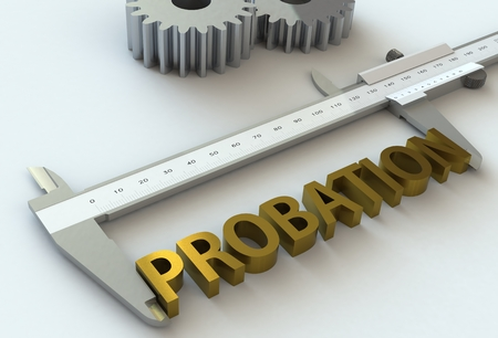 probation: PROBATION, message on vernier caliper, 3D rendering