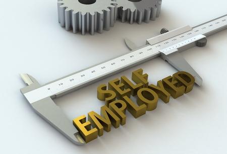 vernier caliper: SELF EMPLOYED, message on vernier caliper, 3D rendering