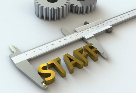 vernier caliper: STAFF, message on vernier caliper, 3D rendering