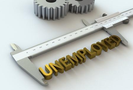 vernier caliper: UNEMPLOYED, message on vernier caliper, 3D rendering Stock Photo